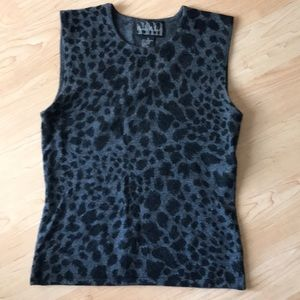 Nicole Miller Black + Gray leopard Vest